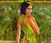 Alluring Egyptian Woman Posing in front of Palm Trees.