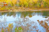 View on the Canal National Historic Park from the riverside of Potomac in fall.