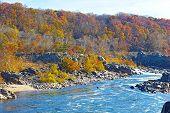 Potomac River with rapids at Great Fall National Park Virginia USA.