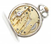 Above View Of Brass Movement Vintage Pocket Watch