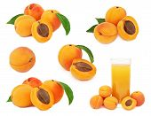 Set Ripe Apricots With Green Leaves (isolated)
