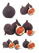 Set Whole And Sliced Figs (isolated)