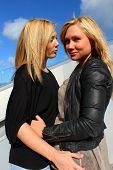picture of flirt  - two beautiful women flirting in the sunshine  - JPG