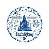 Buddhism grunge rubber stamp