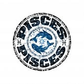 picture of pisces  - Blue grunge rubber stamp with the symbol of pisces from the zodiac - JPG