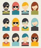 Men, woman portrait avatars profile pictures flat icons. Vector illustration.