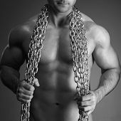 Sexy Man Body With Chain Black And White