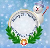 Christmas greeting card.Festive appliques background with snowma