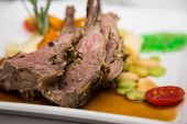 Rare Rack Of Lamb With Vegetables