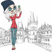 Vector Cute Girl Makes Selfie In Prague
