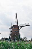 Old windmill in Kinderdijk Holland