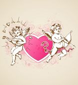 Pink Heart And Cupids