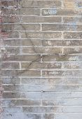 Background With Old Rough Antique Brick Wall Terracotta Brick With Cracks And Splits