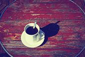 Morning cup of coffee. Vintage background