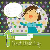 First birthday. Vector happy birthday greeting card, birthday invitation. Anniversary celebration greeting card. Girl singing, speech bubble.