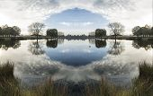 Beautiful Surreal Countryside Lake Landscape Reflections