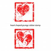 Heart Shaped Grungy Rubber Stamp