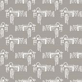 stock photo of mechanical drawing  - Vector hand draw retro mechanism seamless pattern - JPG