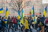 WARSAW, POLAND - NOVEMBER 23: a march of solidarity with Ukraine on the anniversary of the revolution dignity in Ukraine in November 23, 2014 in Warsaw