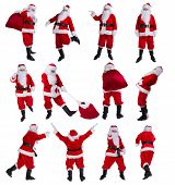 Isolated figures of Santa Claus in various poses on white background