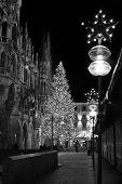 Christmas Tree At Night With Lights. Marienplatz In Munich , Germany.