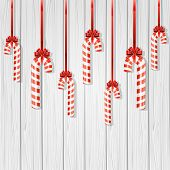 Christmas Canes On Wooden Background