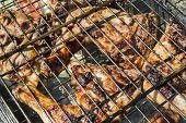 stock photo of marinade  - The marinaded chicken fried on coals on a lattice - JPG