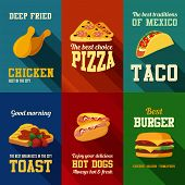 Fastfood retro style banners vector design templates set.  Chicken, Pizza, Taco, Toast, Hot Dog, Burger icons collection.