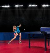 Young girl table tennis player (interior ver)