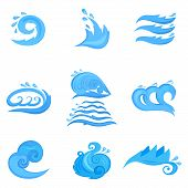 Wave symbols set for design isolated on white backgriund
