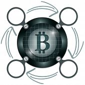 stock photo of bit coin  - dark circular frame for text with arrows and bit coin symbol - JPG
