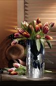 pink tulip flowers in vase