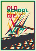 Retro poster with train. Vector illustration.