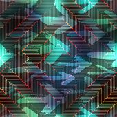 Computer matrix pattern on blurred background with arrows.