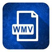 wmv file flat icon, christmas button