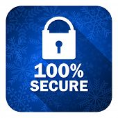 secure flat icon, christmas button