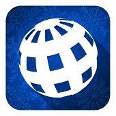 earth flat icon, christmas button