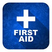 first aid flat icon, christmas button