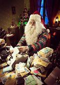 Santa Claus Using A Vintage Calculator