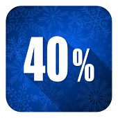 40 percent flat icon, christmas button, sale sign