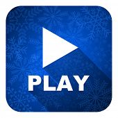 play flat icon, christmas button