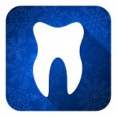 tooth flat icon, christmas button