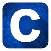 copyright flat icon, christmas button