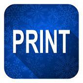 print flat icon, christmas button