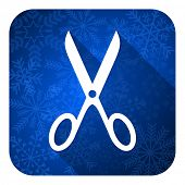 scissors flat icon, christmas button, cut sign