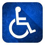 wheelchair flat icon, christmas button