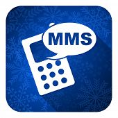 mms flat icon, christmas button, phone sign