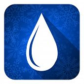 water drop flat icon, christmas button