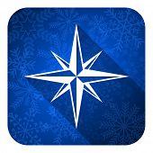 compass flat icon, christmas button
