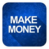 make money flat icon, christmas button